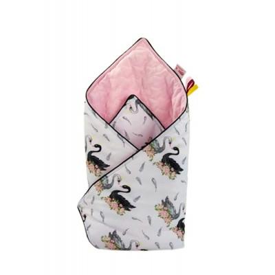 Rożek Łabędź w kwiatach różowy velvet
