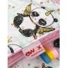 Kocyk Panda złota z różowym velvetem 75x100