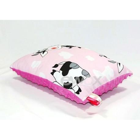 PODUSZKA MINKY 30X40 różowa krowa - fuksja